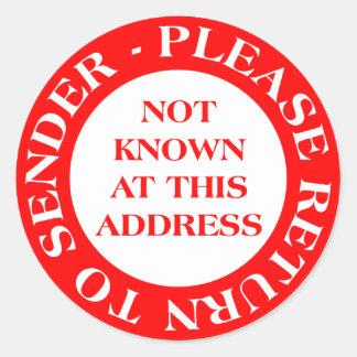 No sabido en esta dirección - rojo pegatina redonda