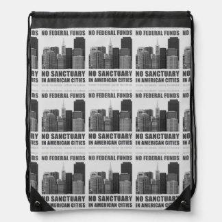No Sanctuary Cities Drawstring Bag