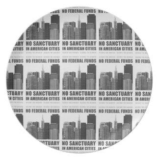 No Sanctuary Cities Melamine Plate