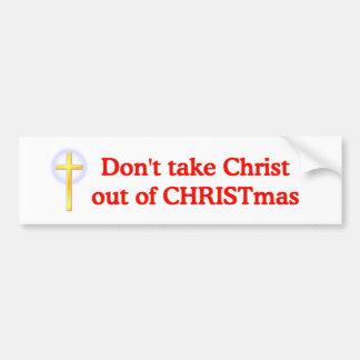 No saque a Cristo de navidad Pegatina De Parachoque