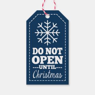 No se abra hasta el copo de nieve del navidad - etiquetas para regalos