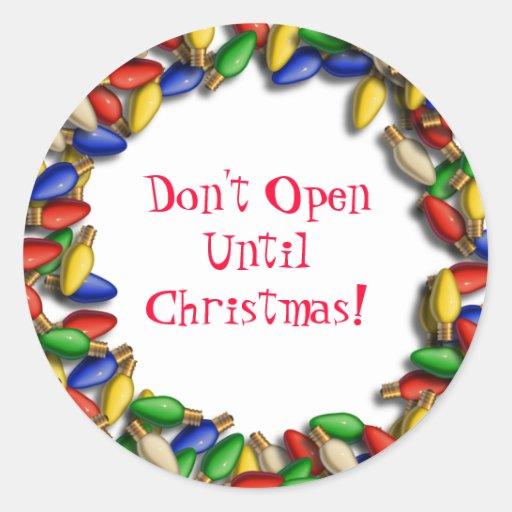No se abra hasta el pegatina de Navidad