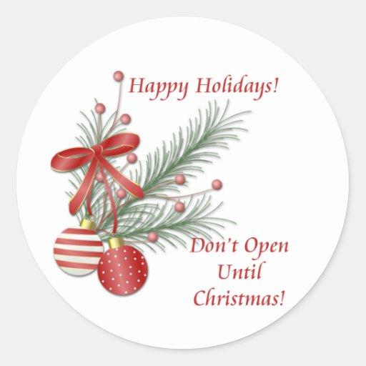 No se abra hasta los pegatinas del navidad etiqueta redonda