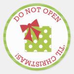 No se abra 'hasta los pegatinas del navidad