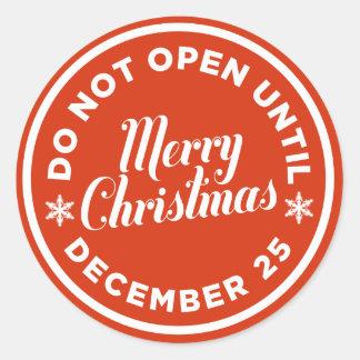 No se abra hasta los pegatinas del regalo del pegatina redonda