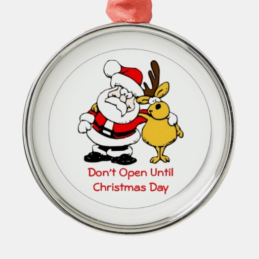 No se abra hasta navidad adorno redondo plateado