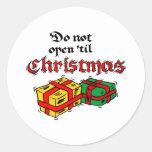 No se abra hasta navidad pegatina redonda
