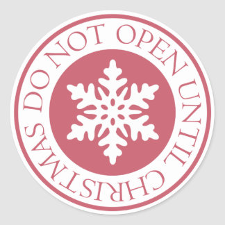No se abra hasta rojo del copo de nieve del etiqueta redonda
