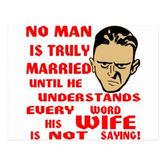 No se casa ningún hombre verdad hasta que él tarjeta postal