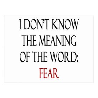 No sé el significado del miedo de la palabra postales