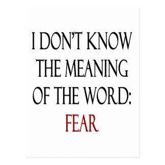 No sé el significado del miedo de la palabra postal