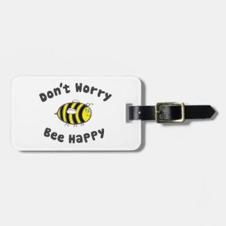 No se preocupe la abeja feliz etiquetas para maletas