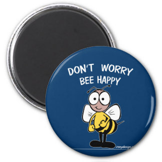 No se preocupe la abeja feliz imán redondo 5 cm