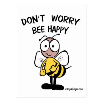 No se preocupe la abeja feliz tarjetas postales