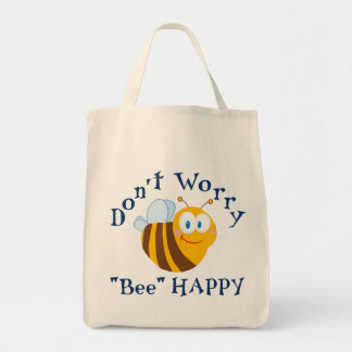 No se preocupe la bolsa de asas reutilizable feliz