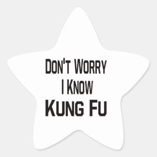 No se preocupe me conocen Kung Fu Calcomanías Forma De Estrellaes Personalizadas
