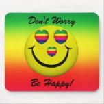 ¡No se preocupe sea feliz! Cara sonriente Mousepad Alfombrilla De Raton