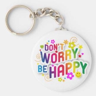 No se preocupe, sea feliz llavero personalizado