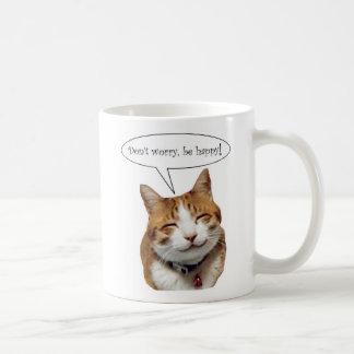 No se preocupe, sea taza sonriente feliz del gato