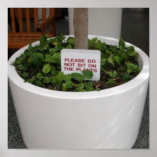 no se siente en las plantas posters