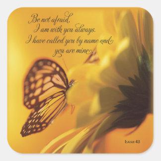 No sea mariposa religiosa asustada en margarita colcomanias cuadradases