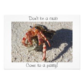 ¡No sea un cangrejo, venido a un fiesta! Invitación