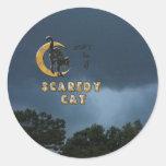 No sea un gato scaredy pegatinas redondas