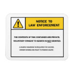 """""""No Search Without A Warrant"""" magnet sign"""