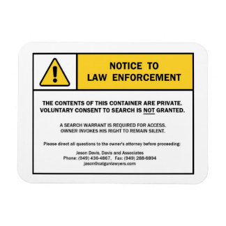 """""""No Search Without A Warrant"""" magnet sign (for CA)"""