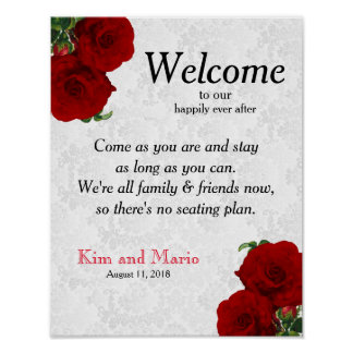 No Seating Plan - Deep Red Rose Wedding Poster