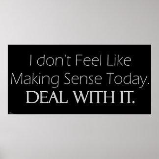 No Sense Today (light) Print