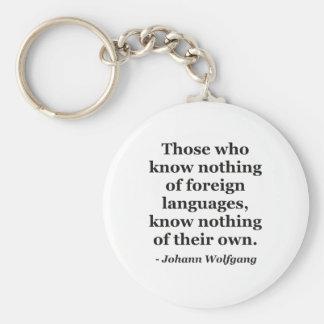 No sepa nada de la cita de los idiomas extranjeros llavero redondo tipo pin