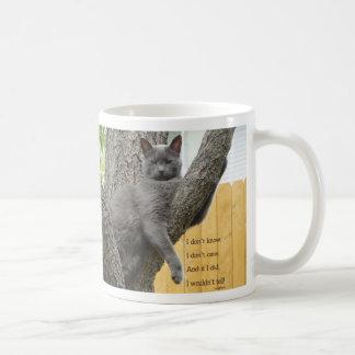 No sepa, no cuide la taza gris del gato