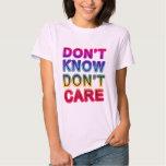 No sepa, no cuide las camisetas, botones, tazas camisas