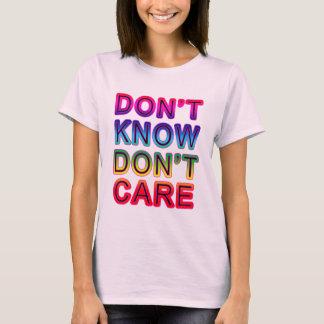 No sepa, no cuide las camisetas, botones, tazas playera