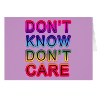 No sepa, no cuide las camisetas, botones, tazas tarjeta de felicitación