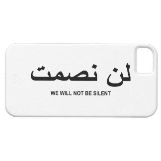 No seremos cita silenciosa en inglés y árabe iPhone 5 carcasas