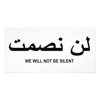 No seremos cita silenciosa en inglés y árabe tarjetas con fotos personalizadas