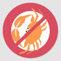 No Shellfish Red Bold Crab Allergen Classic Round Sticker