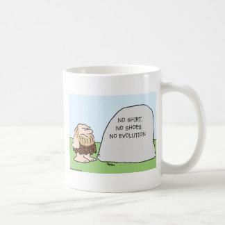 no shirt shoes evolution caveman coffee mug