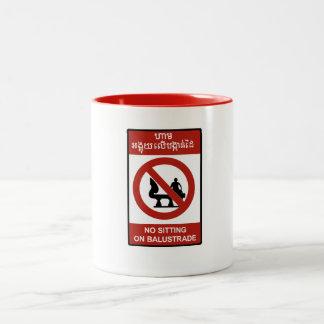 No Sitting on Balustrade Sign, Cambodia Mugs