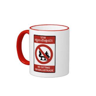 No Sitting on Balustrade Sign, Cambodia Coffee Mugs