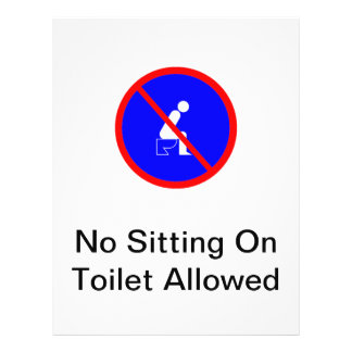 No Sitting On Toilet Allowed Sign Flyer