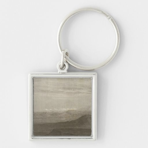 No Slopes of the Sierra Nevada Silver-Colored Square Keychain