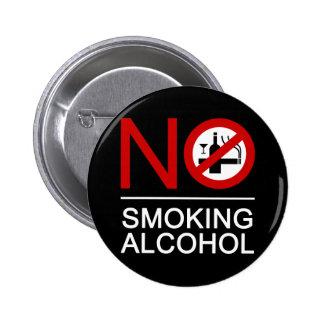 NO Smoking Alcohol ⚠ Thai Sign ⚠ Pinback Buttons