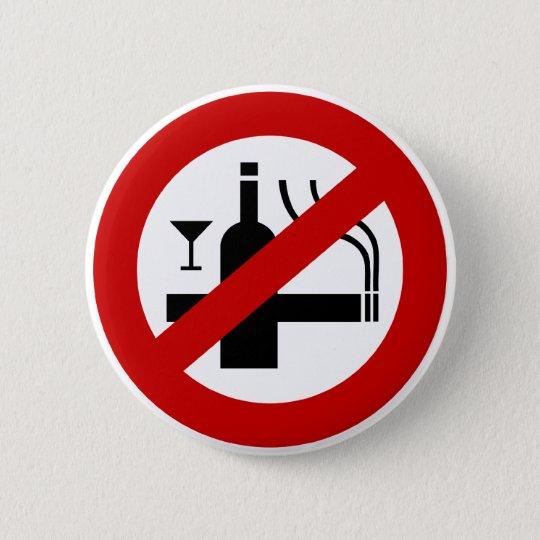 NO Smoking Alcohol ⚠ Thai Sign ⚠ Button