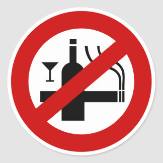 NO Smoking Alcohol ⚠ Thai Sign ⚠ Classic Round Sticker
