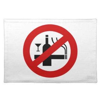 NO Smoking Alcohol ⚠ Thai Sign ⚠ Cloth Placemat