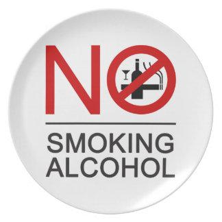 NO Smoking Alcohol ⚠ Thai Sign ⚠ Dinner Plate