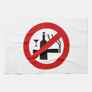 NO Smoking Alcohol ⚠ Thai Sign ⚠ Hand Towel